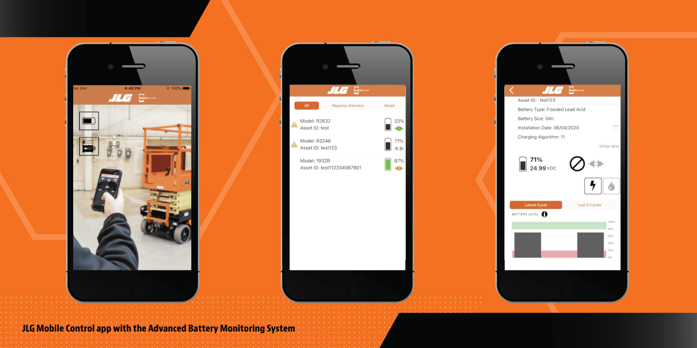 Smartphone Showing Advanced Battery Monitoring with JLG Mobile Control