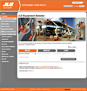 The JLG® equipment selector helps choose the right machine for the job